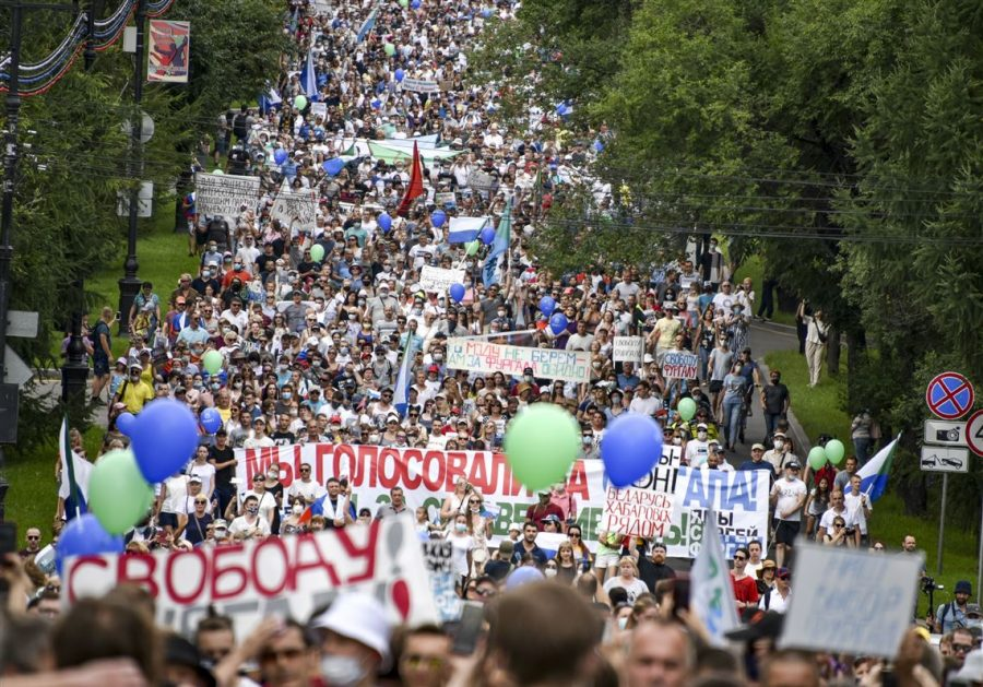 Protests+erupted+in+Moscow+over+the+imprisonment+of+Sergei+Furgal.+